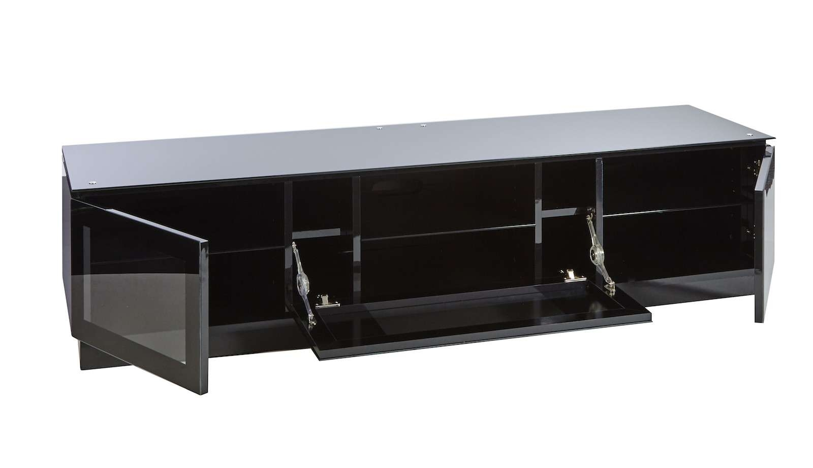 Black Gloss Tv Unit Up To 80 Inch Flat Screen Tv | Mmt D1800 Intended For Black Tv Cabinets With Doors (View 3 of 20)