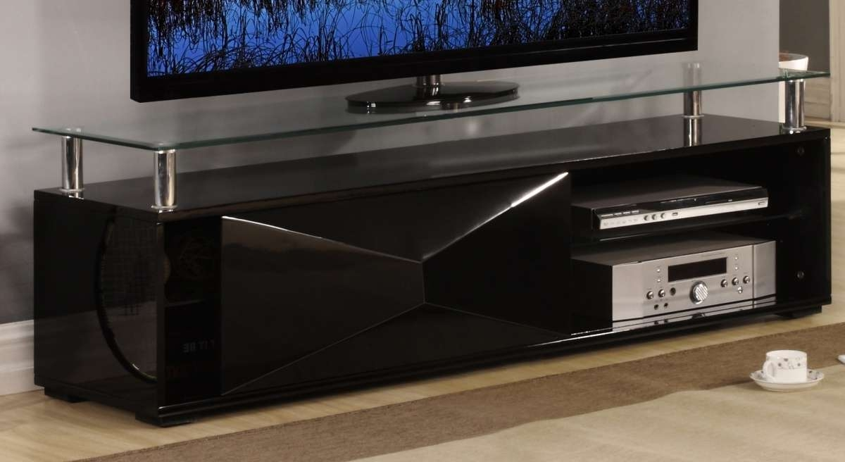 Black High Gloss Television Unit With Glass Top – Homegenies Throughout Black Gloss Tv Stands (View 11 of 20)