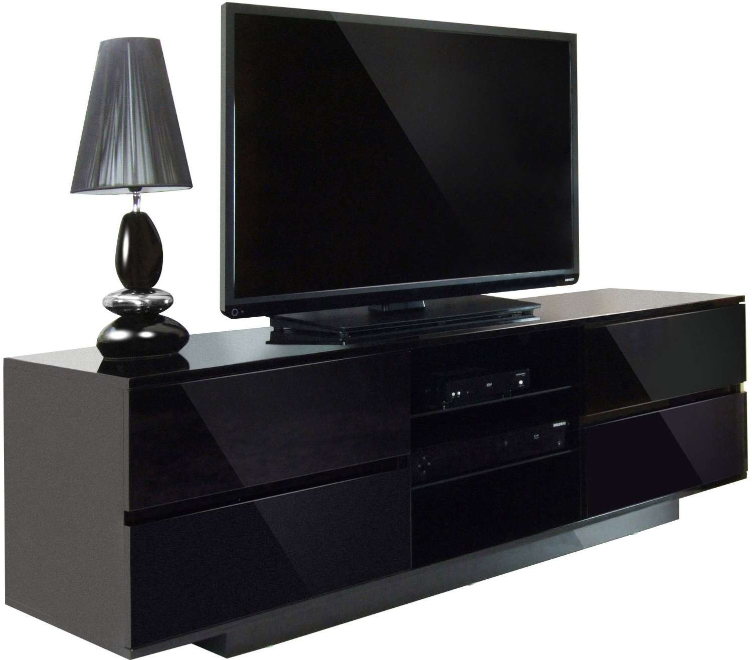 Black Led Tv On Rectangle Black Wooden Short Narrow Storage In Black Tv Stands With Drawers (View 2 of 15)
