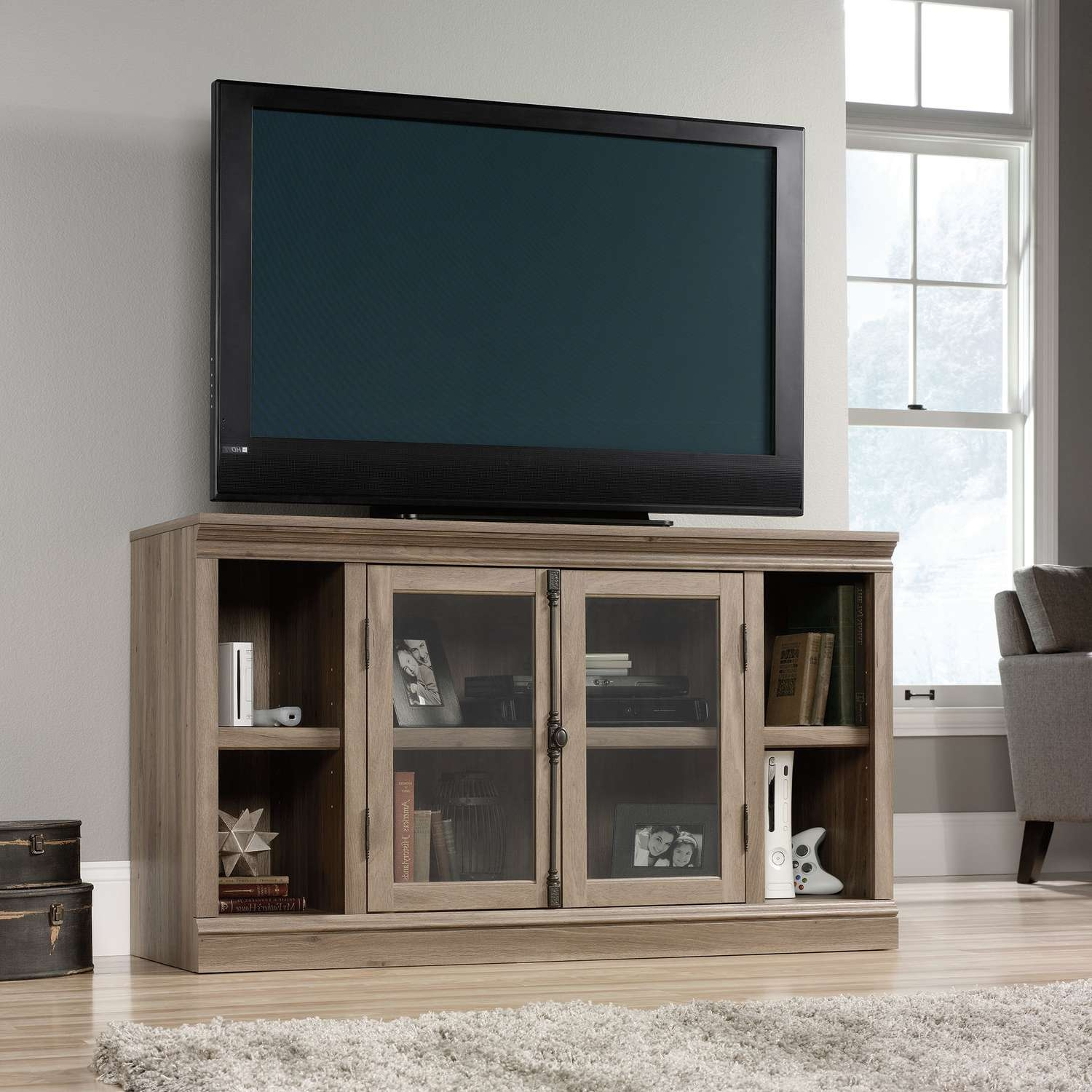 Black Led Tv On Unusual Tv Stands With Stick Game Under Book Plus With Regard To Glass Front Tv Stands (View 5 of 20)