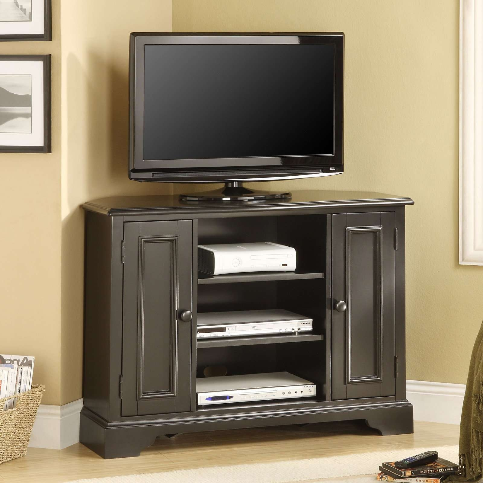 Black Melamine Finished Solid Wood Tall Corner Tv Stand For In Black Wood Corner Tv Stands (View 9 of 15)