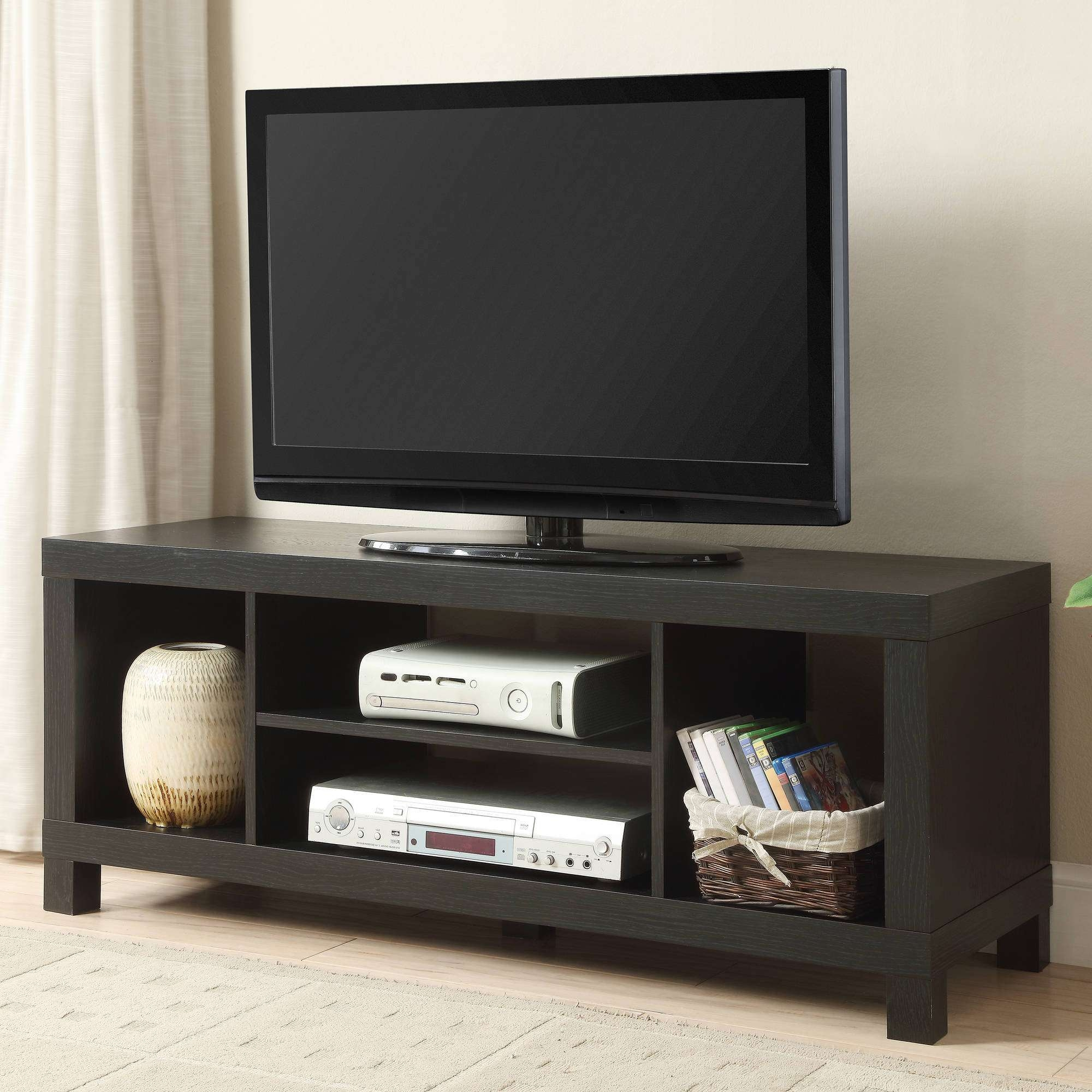"Black Oak Tv Stand For Tvs Up To 42"" – Walmart With Regard To Wood Tv Stands With Glass Top (View 2 of 15)"