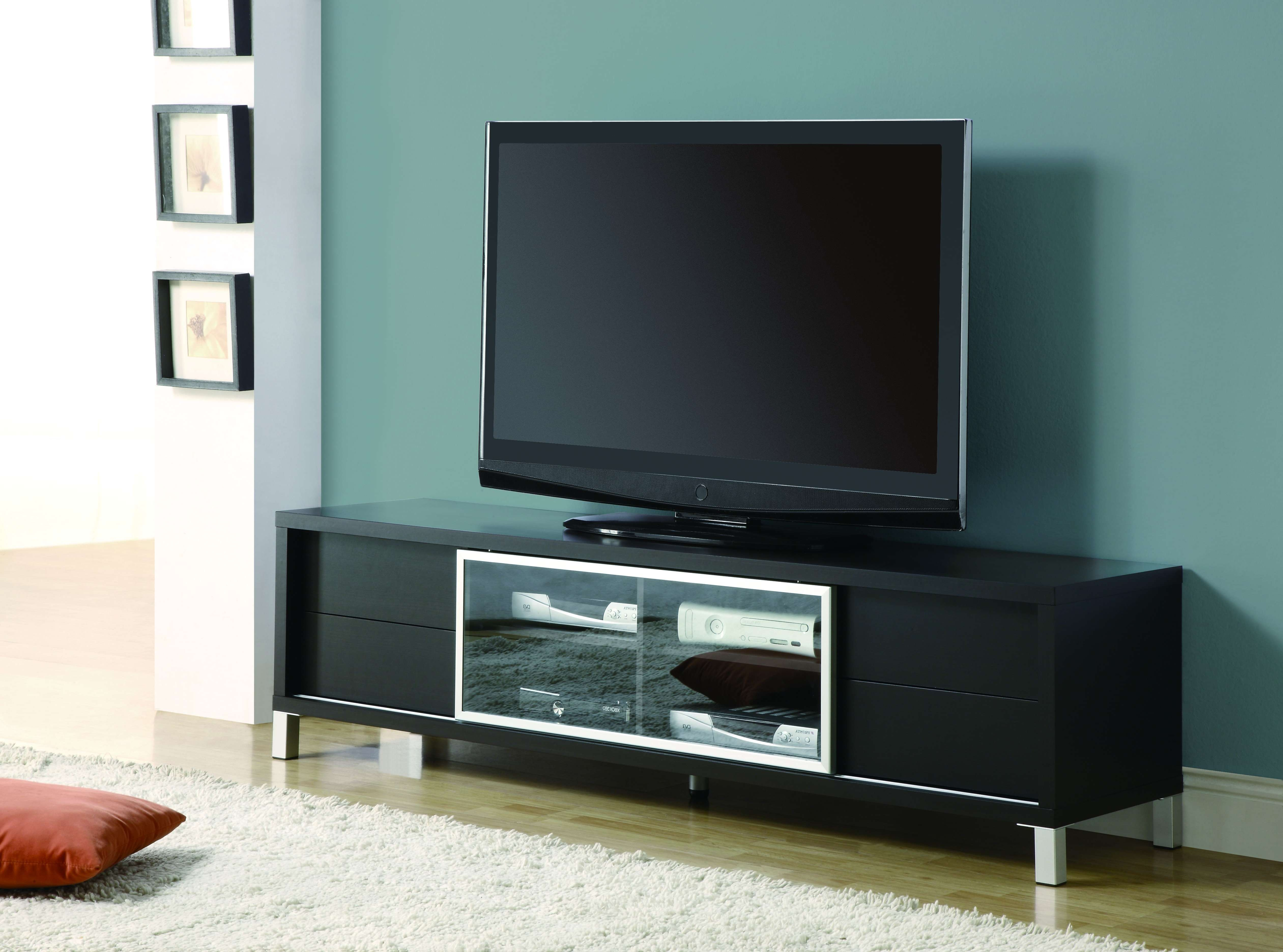 Black Painted Oak Wood Wide Screen Tv Stand Mixed Light Blue Wall Intended For Modern Tv Stands For Flat Screens (View 1 of 15)
