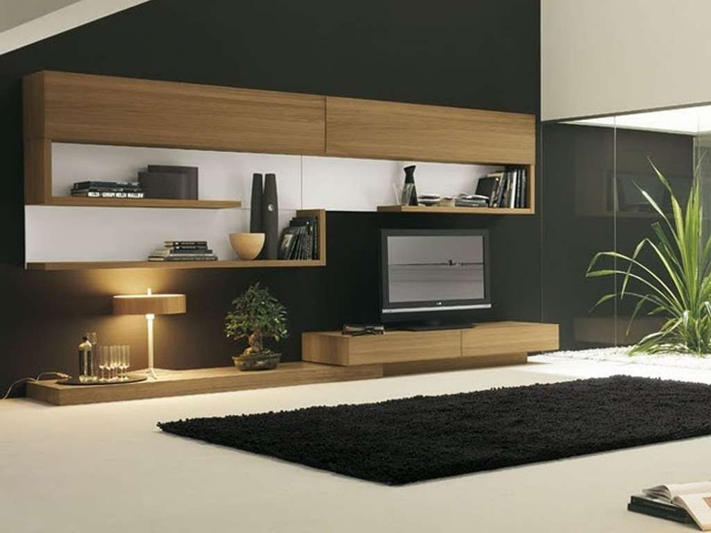 Black Rug For Modern Living Room Decor With Sleek Wooden Tv Stand Within Sleek Tv Stands (View 5 of 15)