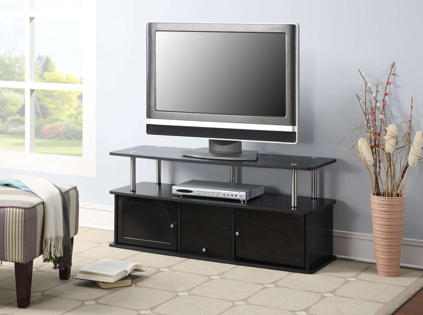 Black Small Tv Stands Tags : 40 Stunning Small Black Tv Stand Regarding Small Black Tv Cabinets (View 19 of 20)