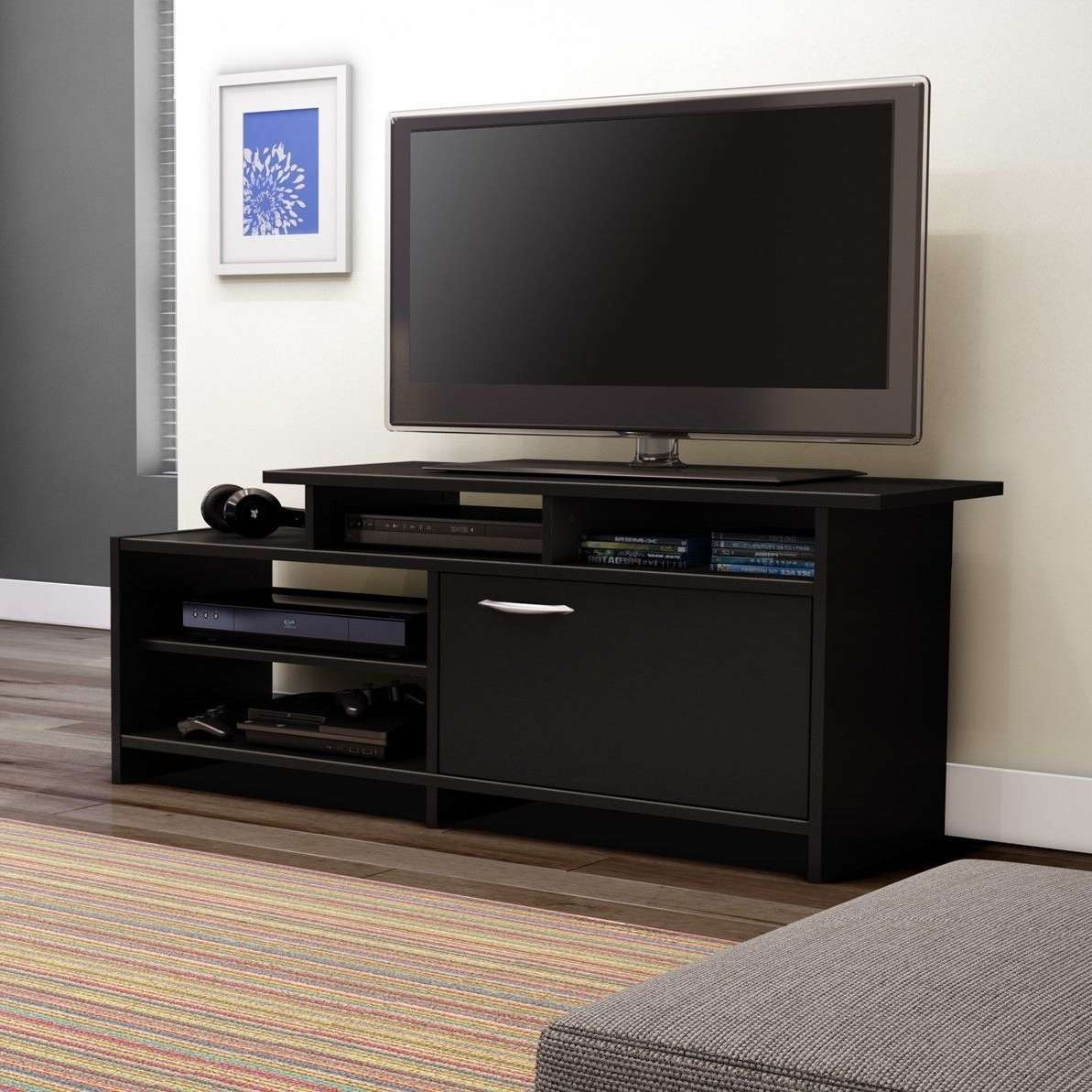 Black Solid Wood Console Table For Tv Stand Having Cabinet Storage Intended For Modern Low Tv Stands (View 3 of 20)