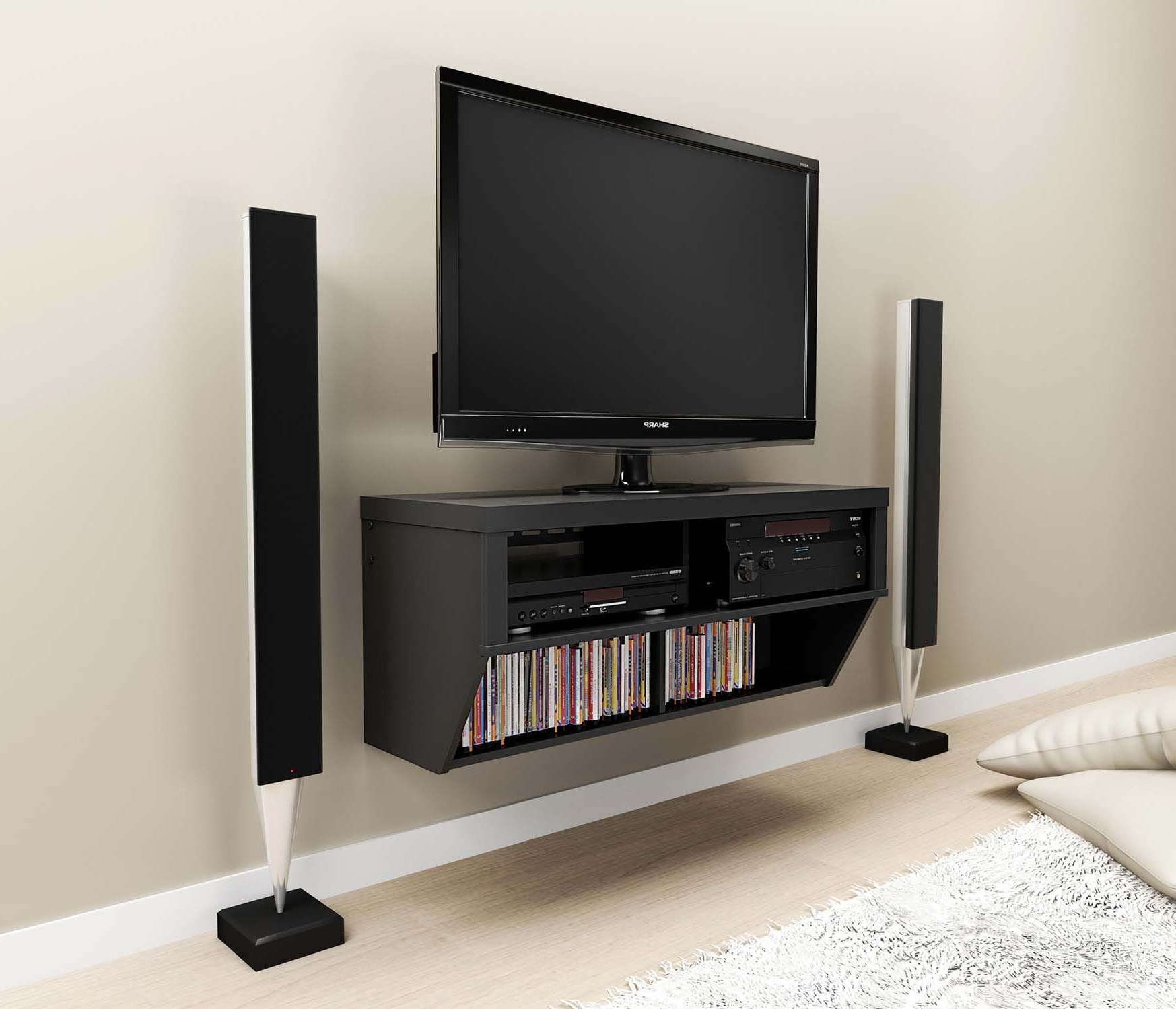 Black Stained Oak Wall Mounted Media Shelf And Tv Stand Of Trendy Inside White Wall Mounted Tv Stands (View 1 of 15)