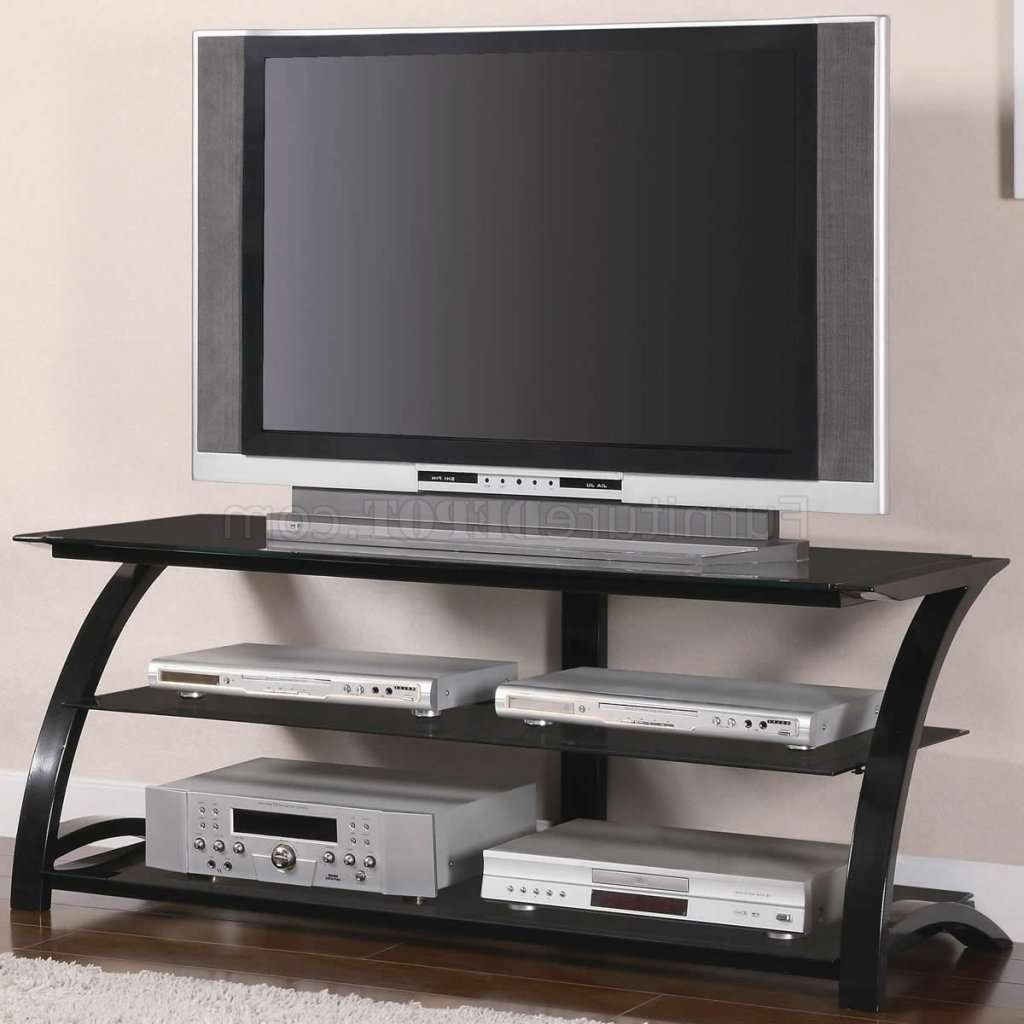 Black Tempered Glass & Metal Base Modern Tv Stand W/shelves Inside Modern Glass Tv Stands (View 8 of 15)