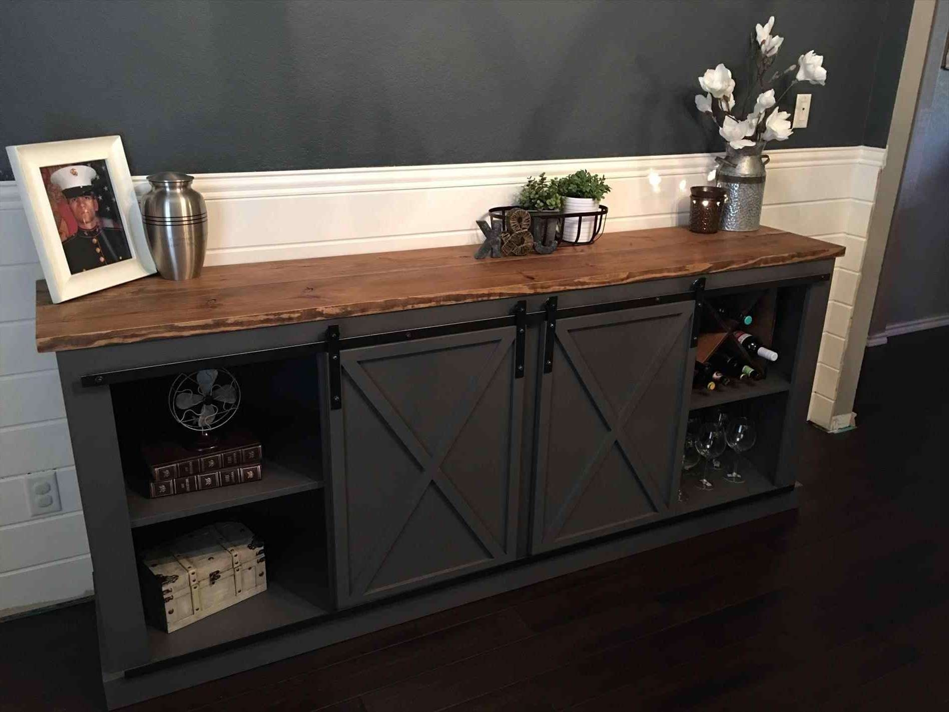 Black Tv Cabinet With Sliding Doors Stand Rustic Distressed Barn With Regard To Black Tv Cabinets With Doors (View 4 of 20)
