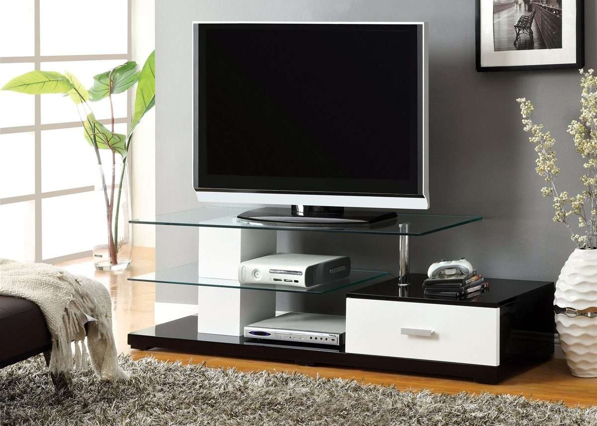 Black & White High Gloss Finish Tv Stand – Caravana Furniture Inside Contemporary Glass Tv Stands (View 1 of 15)