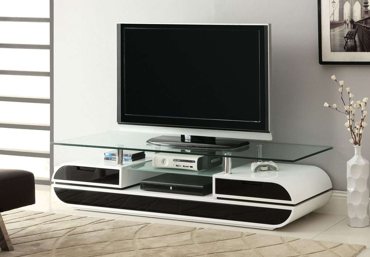 Black & White High Gloss Finish Tv Stand – Caravana Furniture Pertaining To Black Gloss Tv Stands (View 20 of 20)