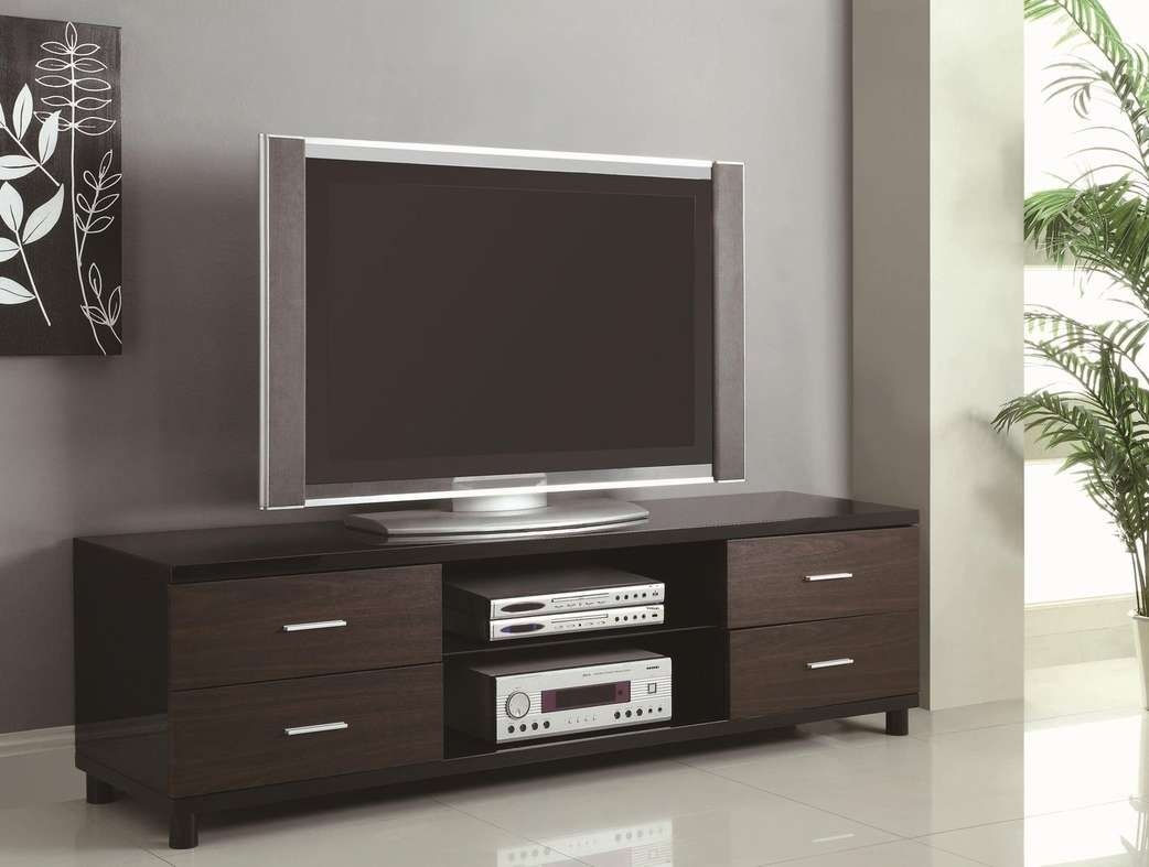 Black Wood Tv Stand – Steal A Sofa Furniture Outlet Los Angeles Ca For Dark Wood Tv Stands (View 1 of 20)