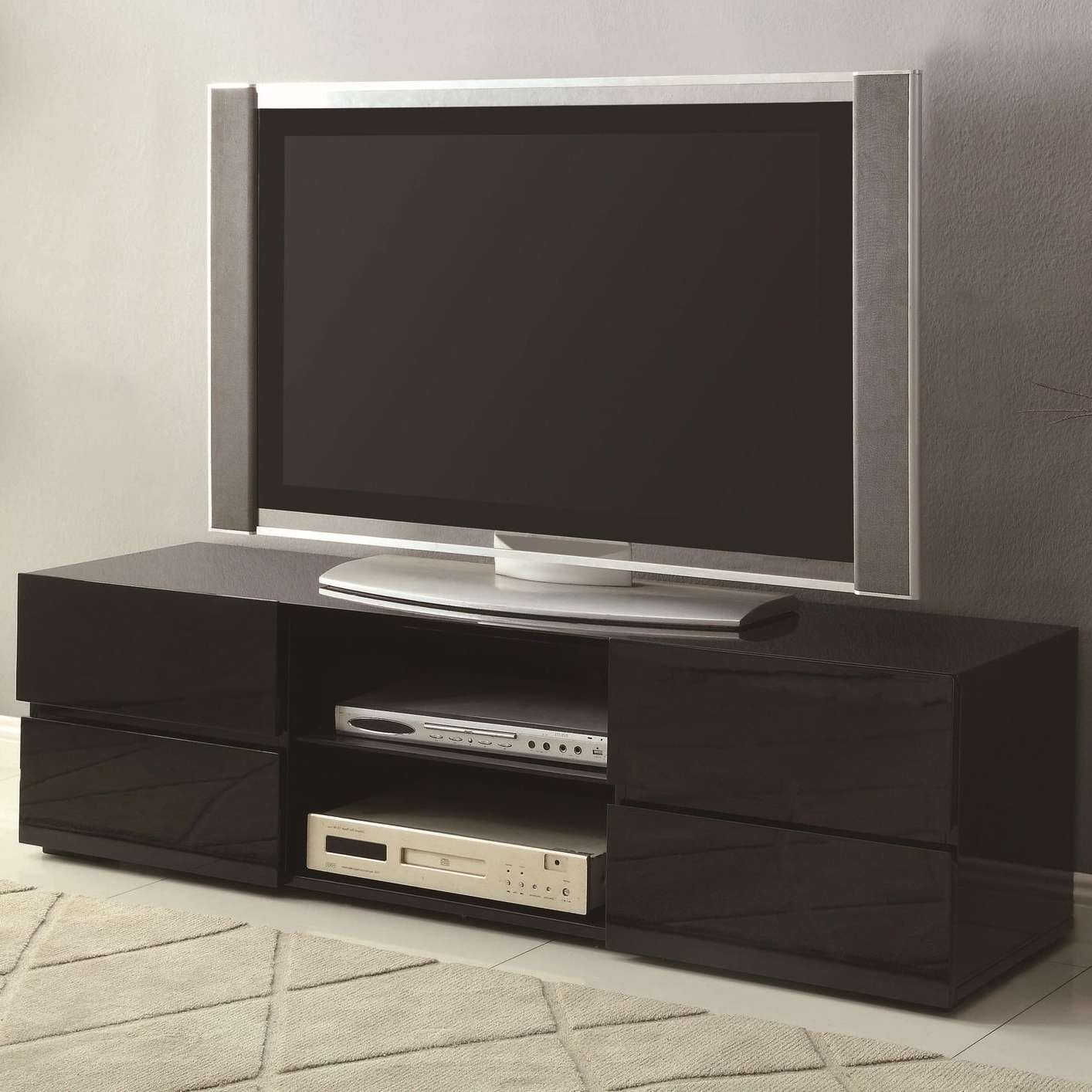 Black Wood Tv Stand – Steal A Sofa Furniture Outlet Los Angeles Ca Pertaining To Wood Tv Stands With Glass Top (View 3 of 15)