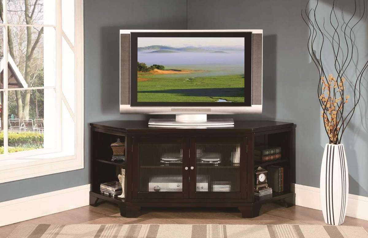 Black Wooden Corner Tv Stand With Glass Doors And Racks Wood Media Pertaining To Corner Tv Cabinets For Flat Screen (View 3 of 20)