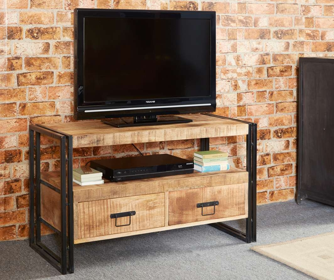 Bonsoni Baudouin Industrial Tv Stand Made From Reclaimed Metal And Intended For Metal And Wood Tv Stands (View 4 of 15)