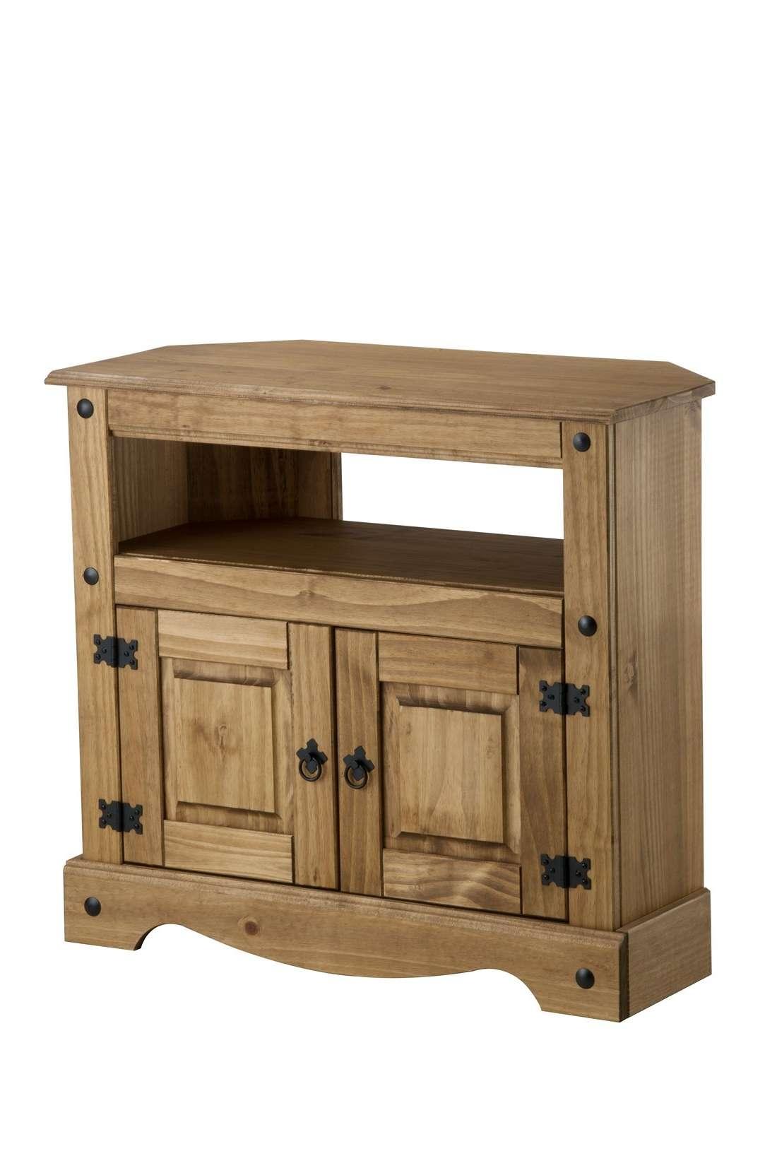 Bonsoni Pine Corona Corner Tv Cabinet Regarding Rustic Corner Tv Cabinets (View 20 of 20)