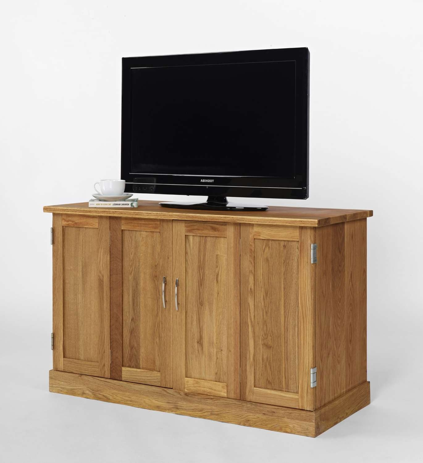 Brooklyn Contemporary Oak Widescreen Tv Cabinet With Widescreen Tv Cabinets (Gallery 3 of 20)