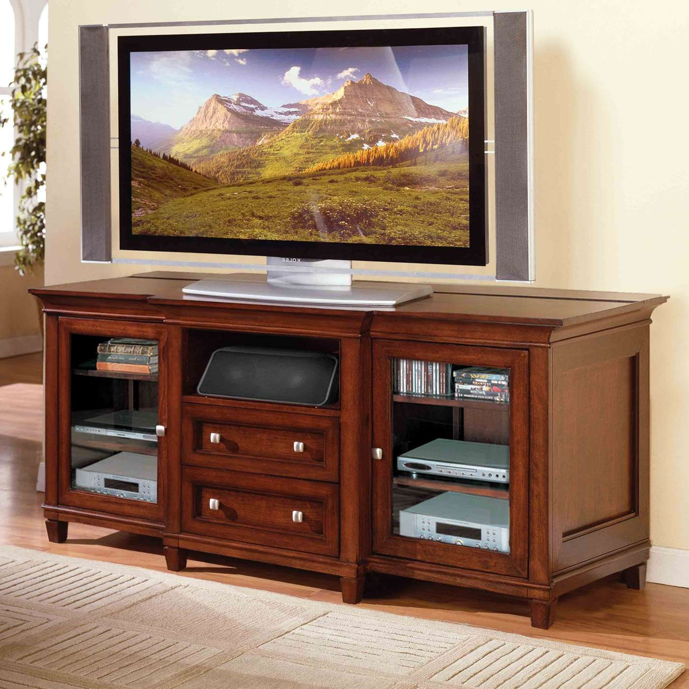 Brown Mahogany Wood Flat Screen Tv Stand With Storage Drawers Of Regarding Mahogany Tv Stands Furniture (View 2 of 15)