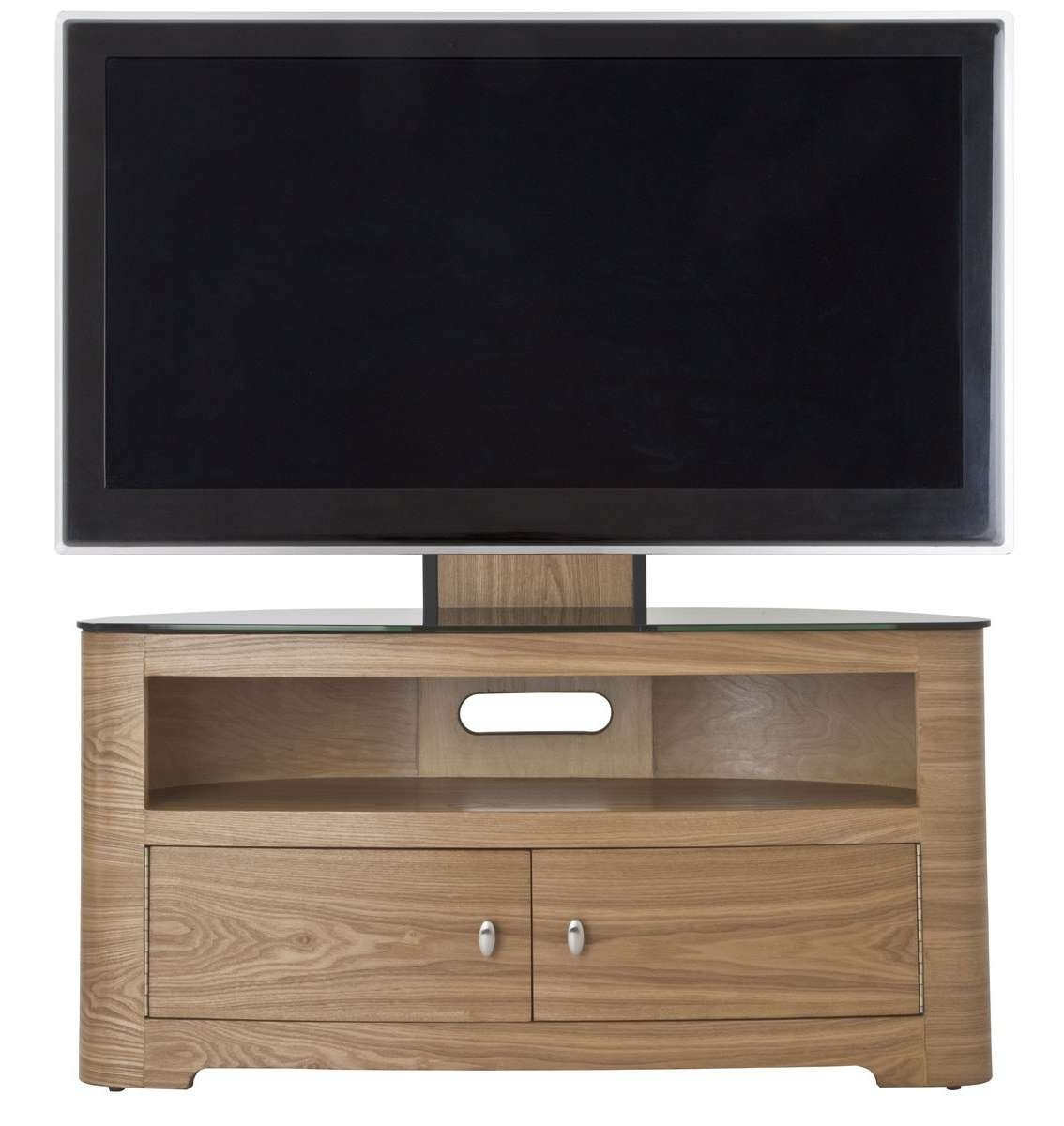 Brown Varnished Maple Wood Tv Stand With Mount Using Double Swing Intended For Maple Wood Tv Stands (View 1 of 15)