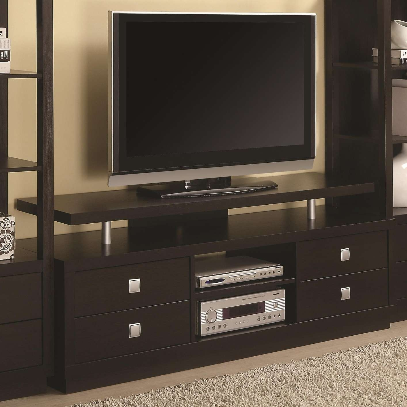 Brown Wood Tv Stand – Steal A Sofa Furniture Outlet Los Angeles Ca With Wooden Tv Stands (View 4 of 15)