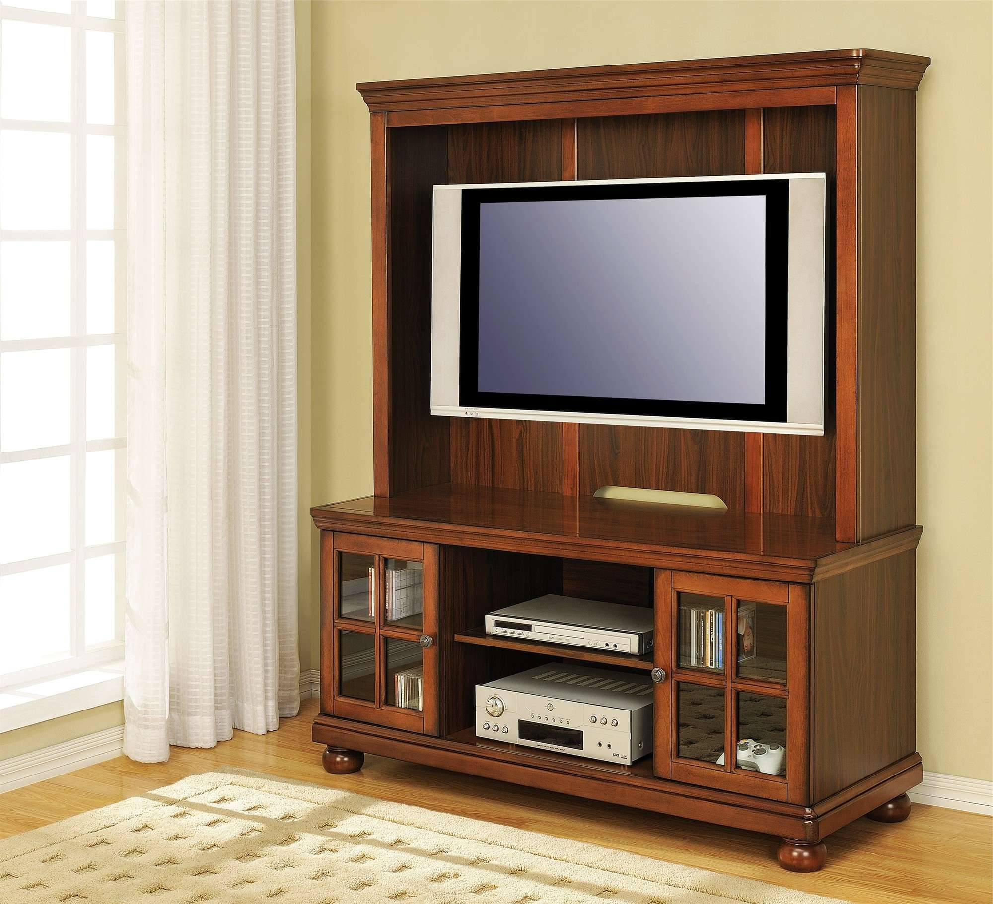 Brown Wooden Cabinet With Glass Door And Rectangle White Flat Pertaining To Glass Tv Cabinets With Doors (View 3 of 20)