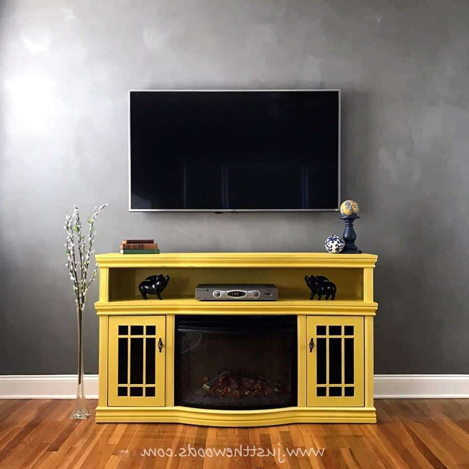 Budget Friendly Diy Tv Standsjust The Woods In Yellow Tv Stands (View 3 of 15)