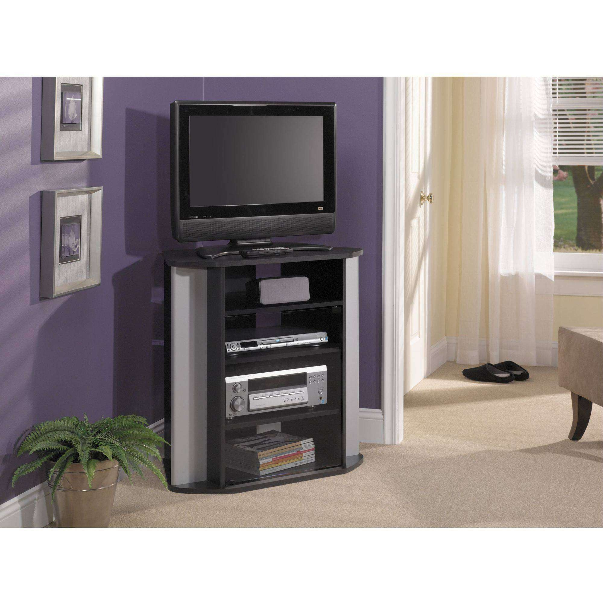 Bush Visions Black Tall Corner Tv Stand, For Tvs Up To 37 Inside Silver Corner Tv Stands (View 1 of 15)