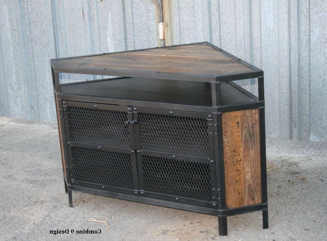 Buy A Custom Vintage Industrial Tv Stand – Corner Unit Media Inside Industrial Corner Tv Stands (View 3 of 15)