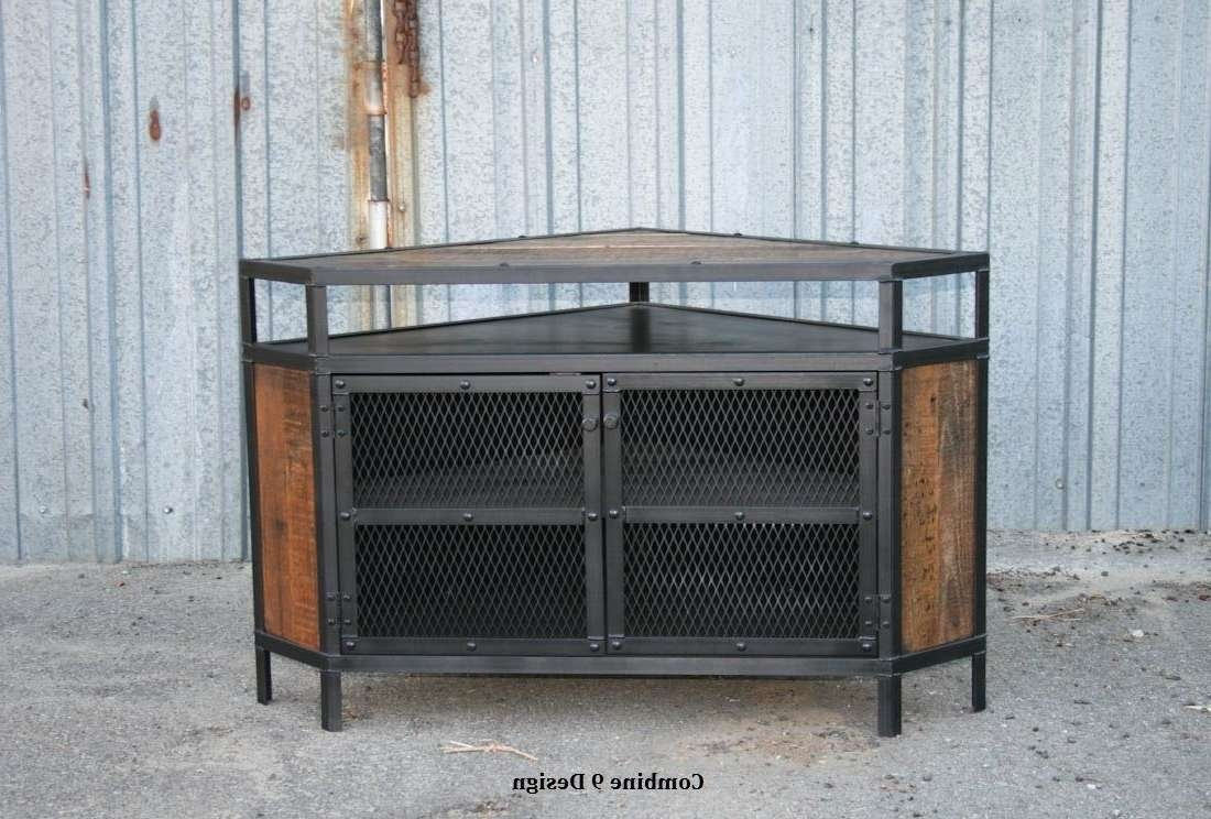 Buy A Custom Vintage Industrial Tv Stand – Corner Unit Media With Regard To Reclaimed Wood And Metal Tv Stands (View 4 of 20)