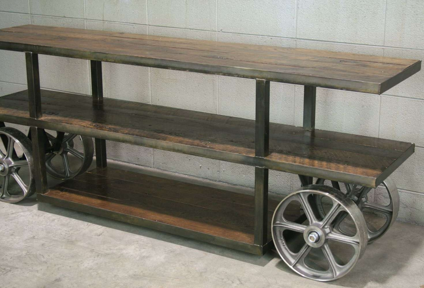 Buy A Hand Crafted Industrial Trolley Cart/ Media Console With Reclaimed Wood And Metal Tv Stands (View 5 of 20)