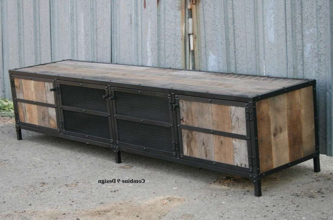 Buy A Hand Made Rustic Industrial Media Console, Tv Stand (Or Intended For Metal And Wood Tv Stands (View 4 of 15)