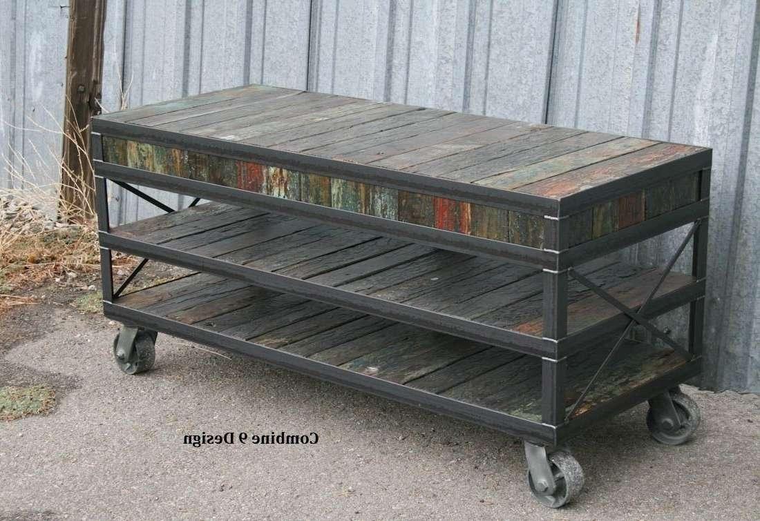 Buy Hand Made Industrial Tv Stand Reclaimed Wood Steel Rack Media In Industrial Tv Stands (View 9 of 15)