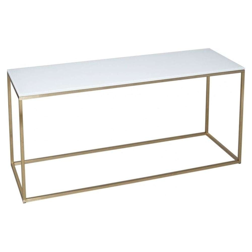 Buy White Glass And Gold Metal Tv Stand From Fusion Living With Regard To White Glass Tv Stands (View 7 of 15)