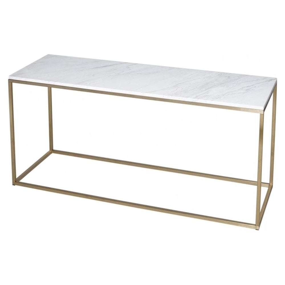 Buy White Marble And Gold Metal Tv Stand From Fusion Living In Gold Tv Stands (View 3 of 20)