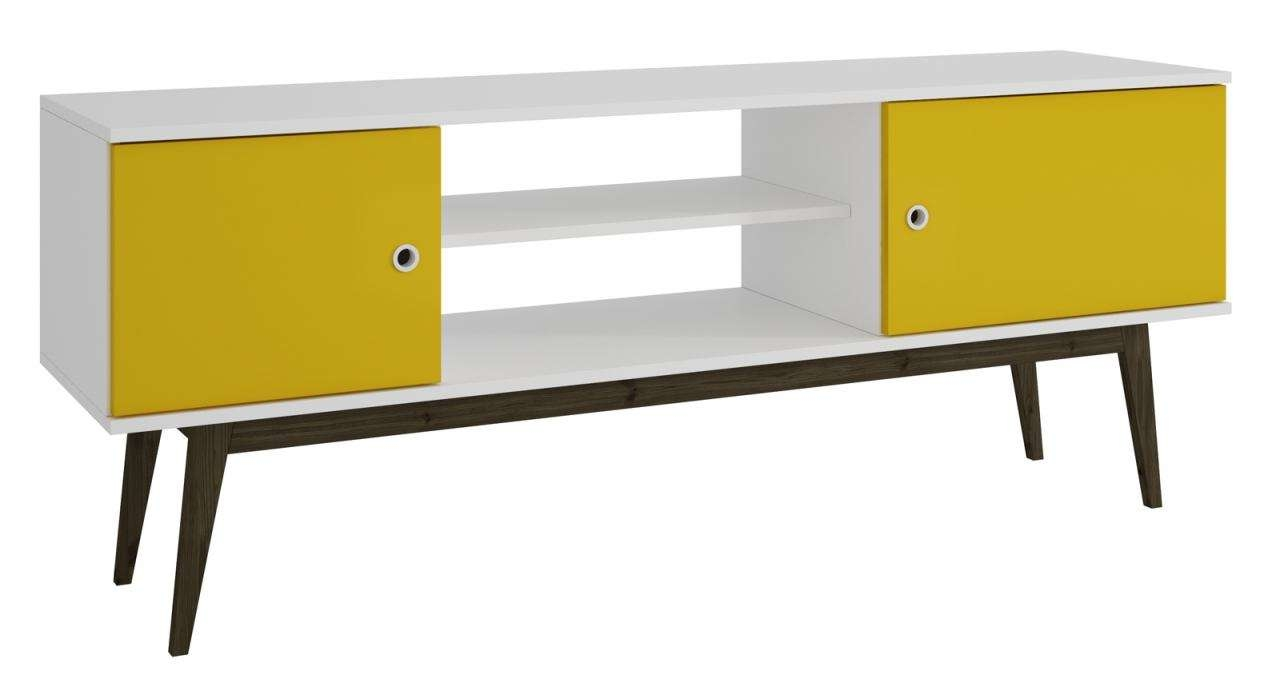 By Manhattan Comfort Salem Tv Stand In White And Yellow 61Amc144 Pertaining To Yellow Tv Stands (View 4 of 15)
