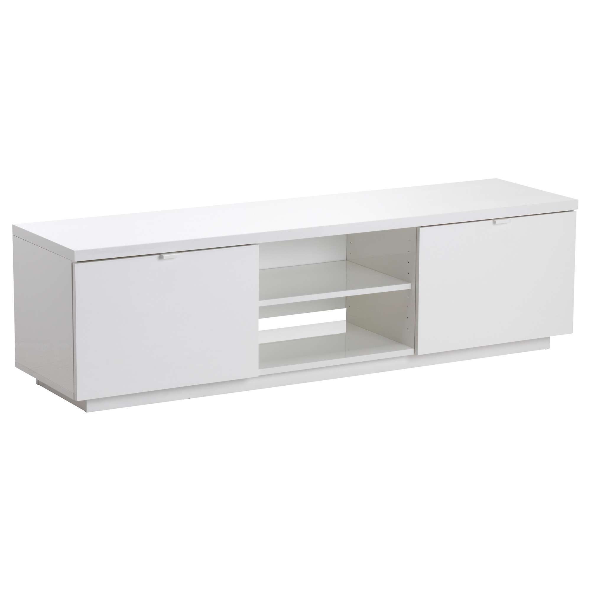 Byås Tv Bench High Gloss White 160X42X45 Cm – Ikea For Gloss White Tv Stands (View 3 of 15)