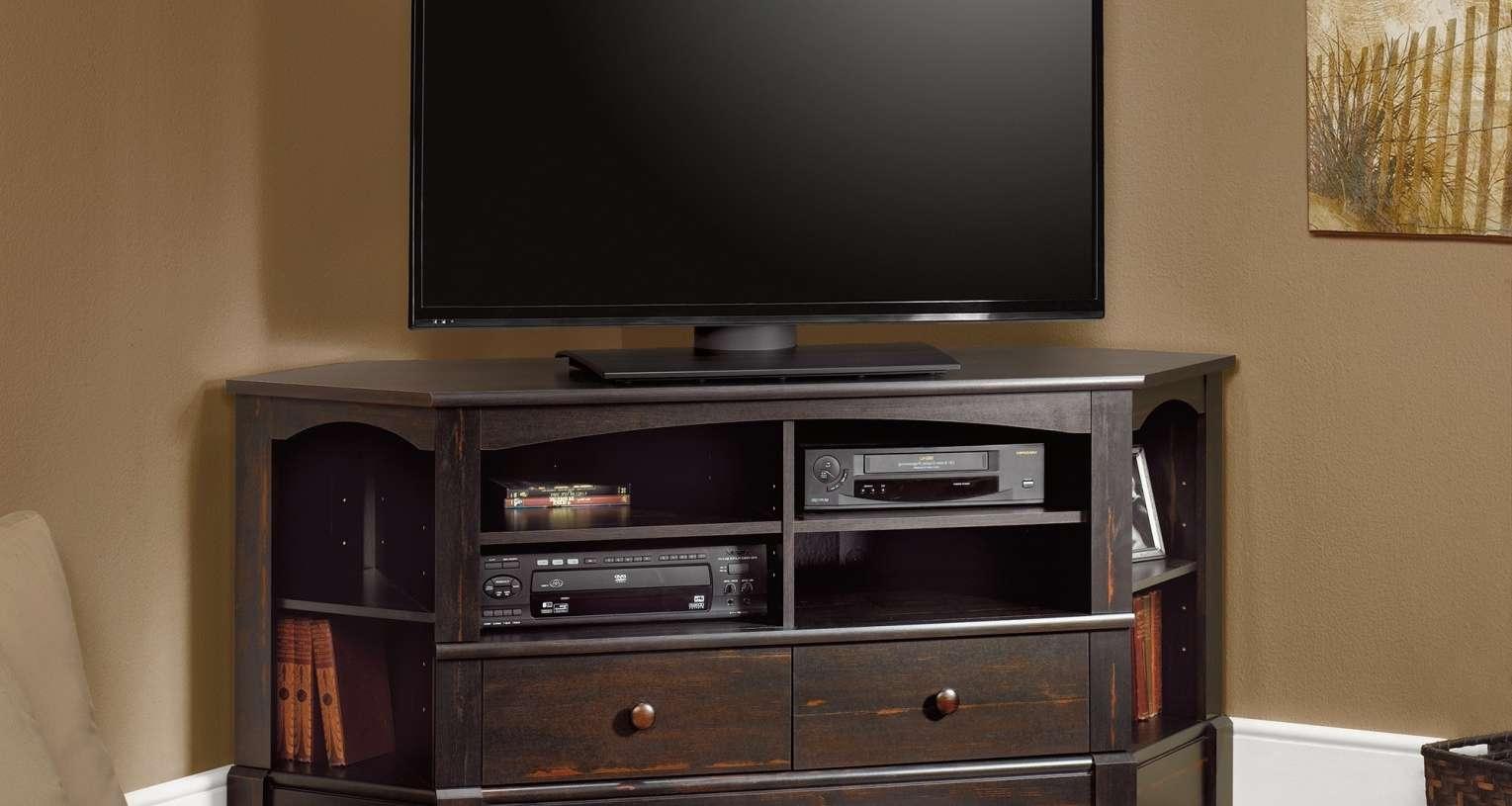 Cabinet : Black Mahogany Wood Corner Tv Stand With Storage Shelves Inside Mahogany Corner Tv Cabinets (View 11 of 20)