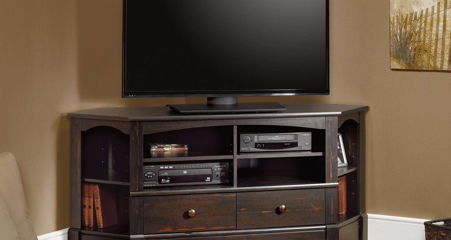 Cabinet : Black Mahogany Wood Corner Tv Stand With Storage Shelves Regarding Mahogany Corner Tv Stands (View 3 of 15)