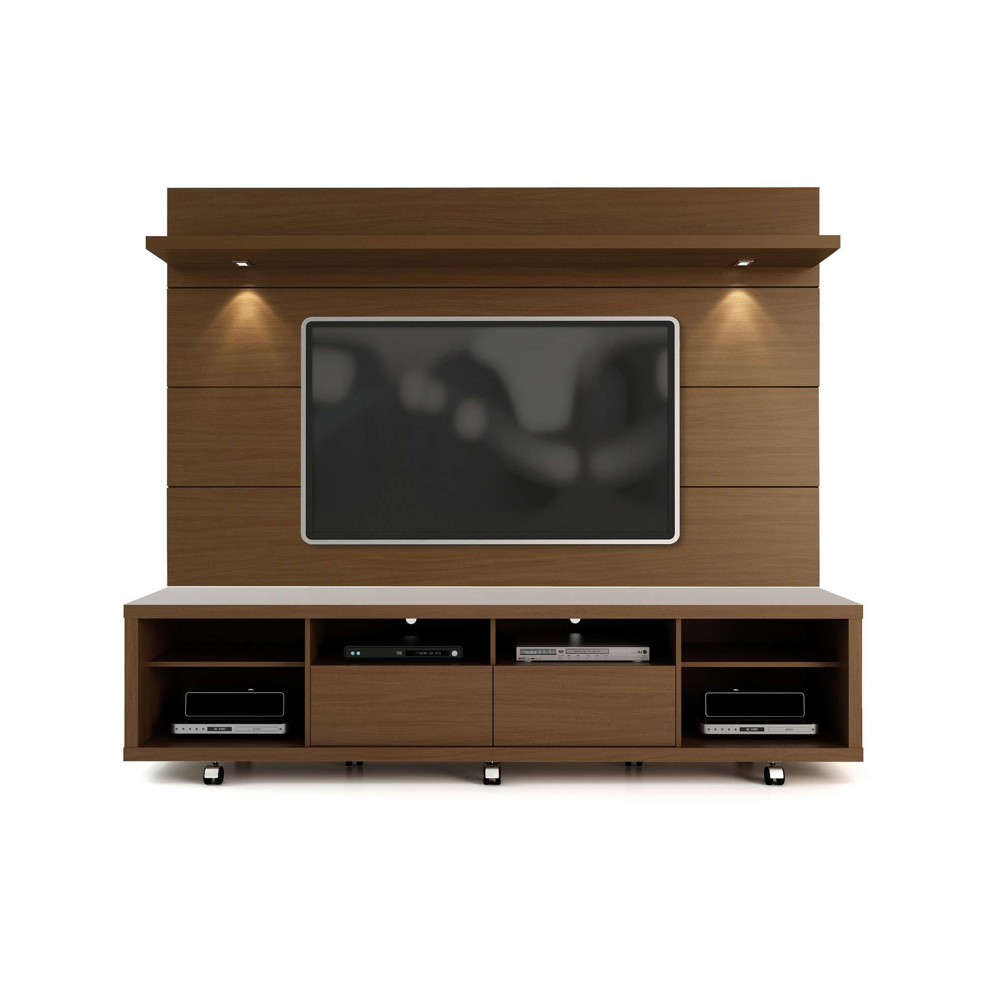 Cabrini Nut Brown Tv Stand & Floating Wall Tv Panel W/ (View 12 of 20)