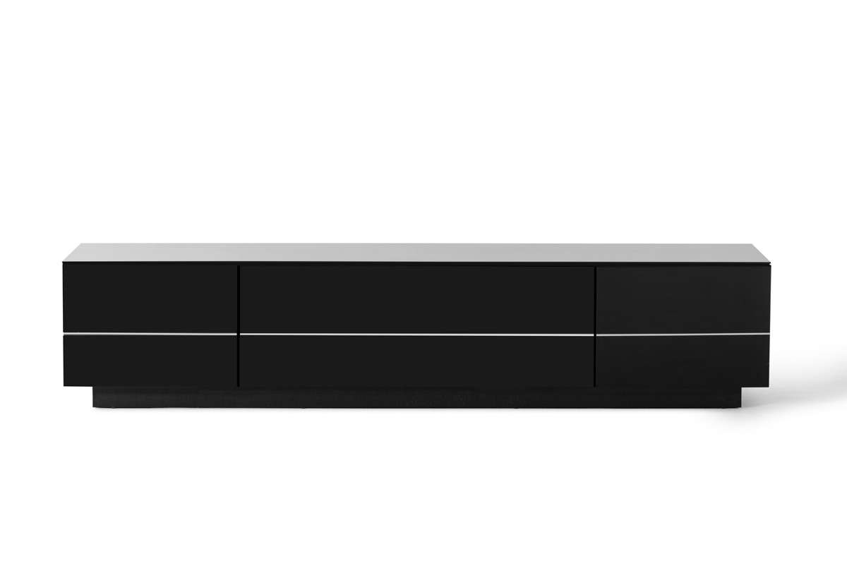 Caeden Contemporary Black High Gloss Tv Stand In Shiny Black Tv Stands (View 3 of 15)