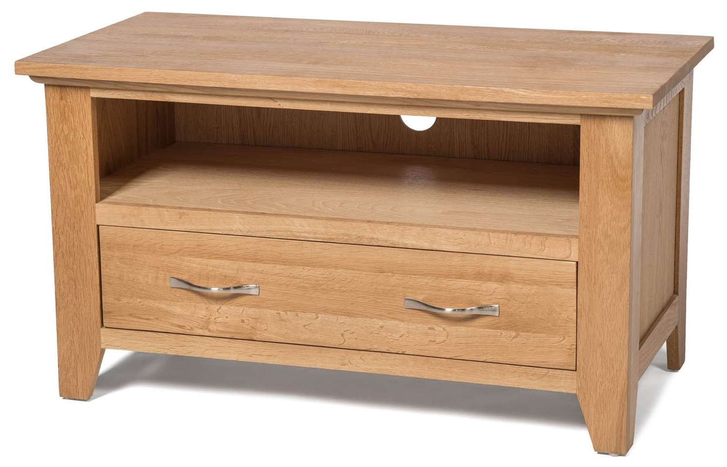 Camberley Oak Small Oak Tv Unit – Tv Stands – Living Room | Hallowood Within Small Oak Tv Cabinets (View 3 of 20)