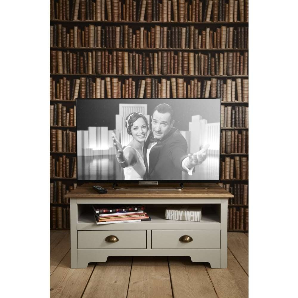 Canterbury Tv Unit In Silk Grey And Dark Pine | Noa & Nani Pertaining To Pine Tv Cabinets (View 4 of 20)