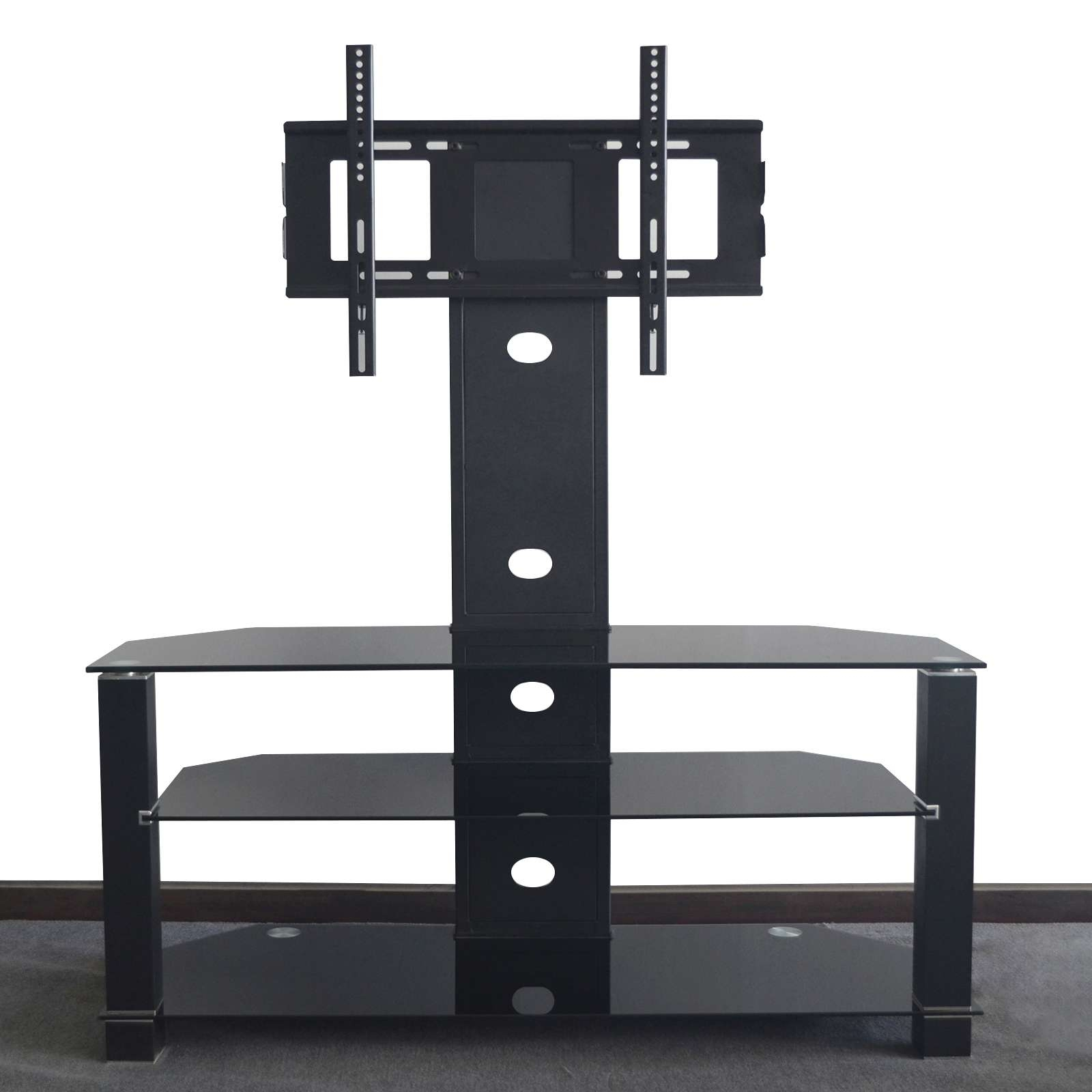 Cantilever Glass Tv Stand With Swivel Bracket For 32 To 55 Inches Pertaining To Cantilever Glass Tv Stands (View 9 of 20)