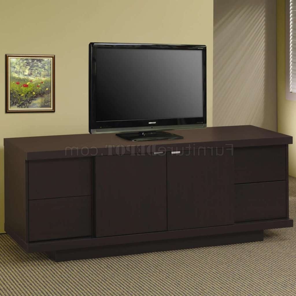 Cappuccino Finish Modern Tv Stand W/four Storage Drawers Within Storage Tv Stands (View 8 of 15)