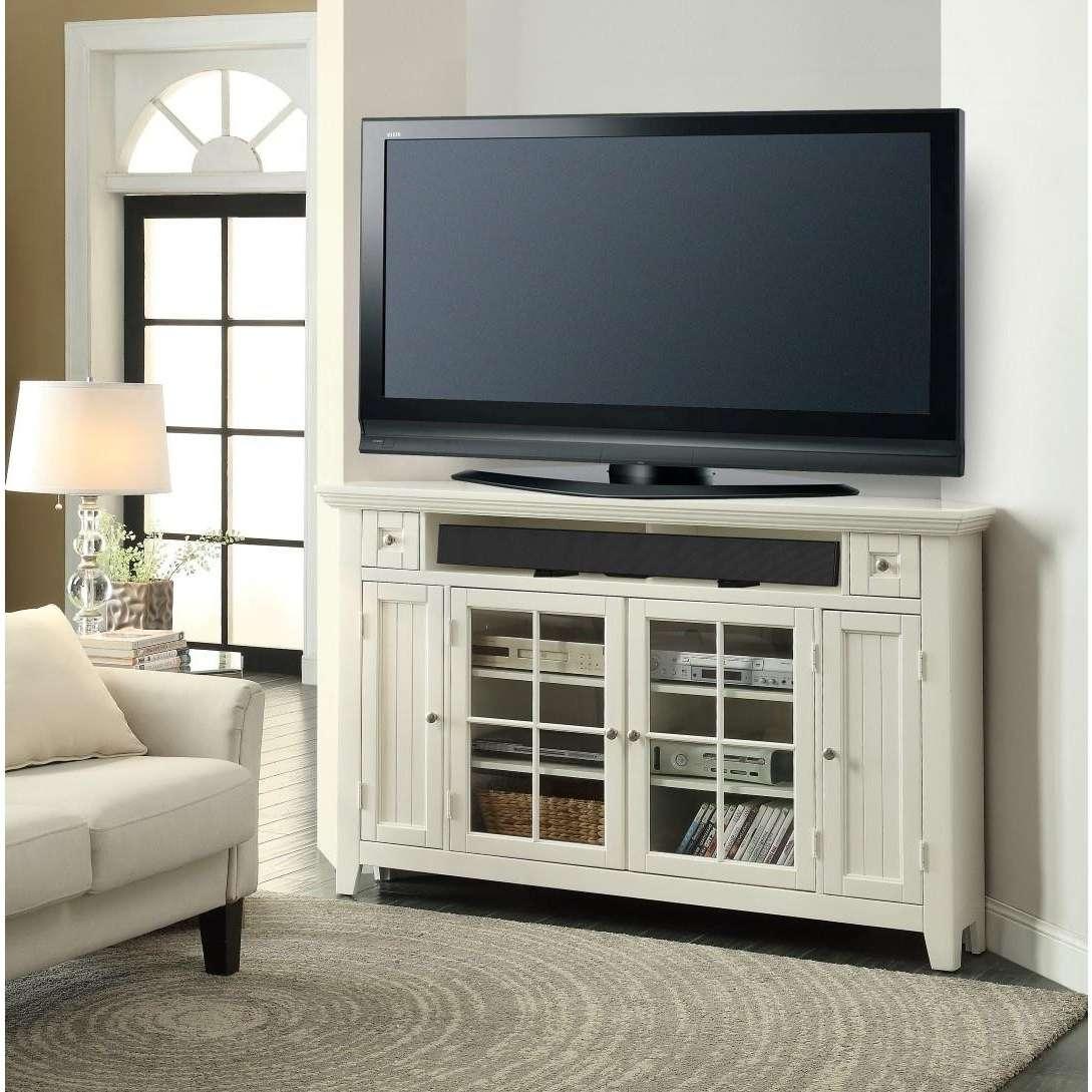 Captivating White Mahogany Wood Corner Tv Stand Glass Four Door In White Wood Corner Tv Stands (View 3 of 15)