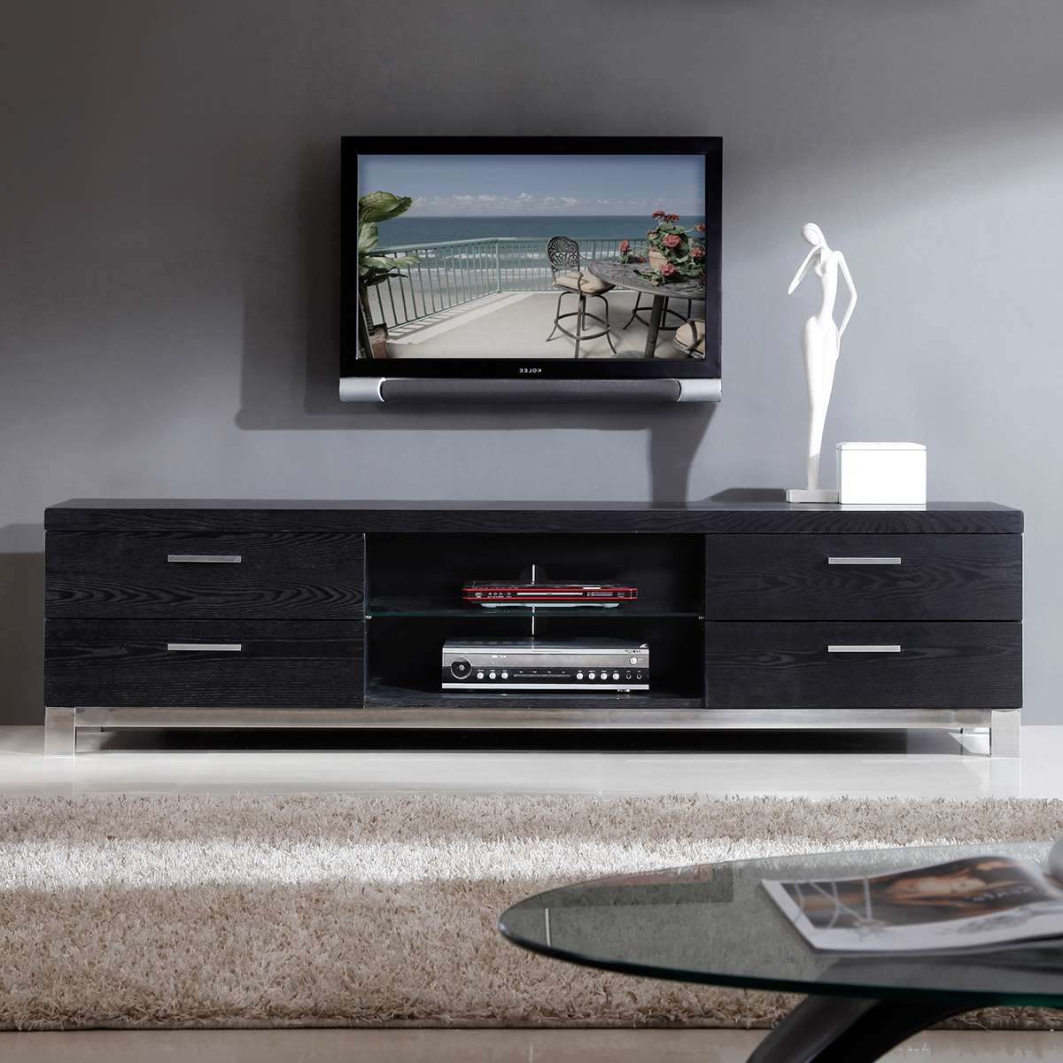 Catchy Gloss Black Tv Plasma Stands Coa Similiar Tv Stands In Contemporary Tv Stands (View 15 of 15)