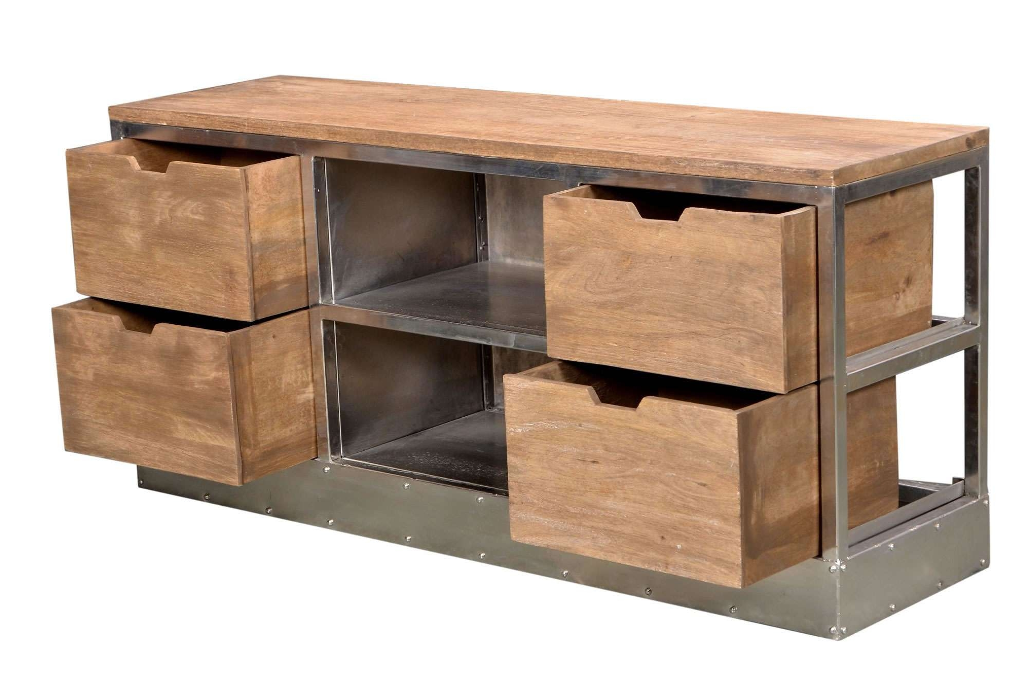 Cdi Furniture Industrial Tv Cabinet With 4 Drawers – Disc Cdi Inside Industrial Tv Cabinets (View 3 of 20)