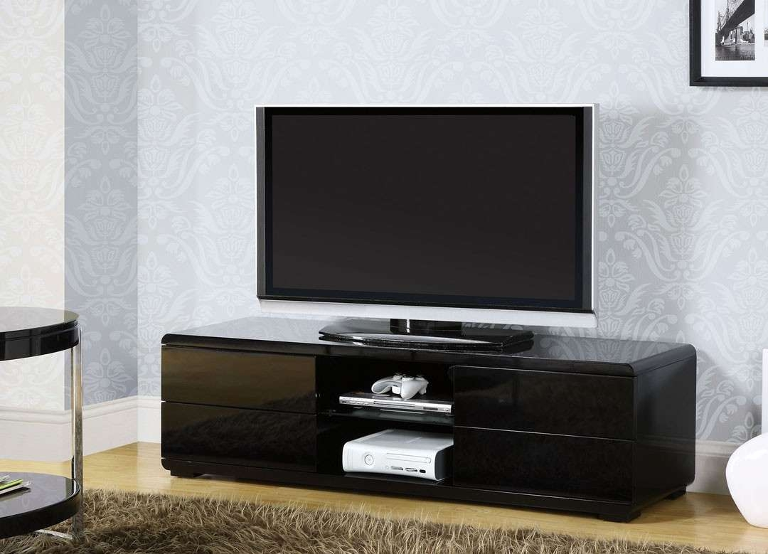 Cerro Black Contemporary Tv Stand | La Furniture Center With Black Tv Stands With Drawers (View 4 of 15)