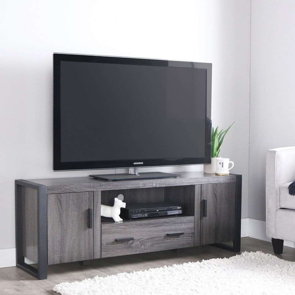 Charcoal Grey Tv Stand Wood Entertainment Center Media Console With Regard To Grey Tv Stands (View 4 of 15)