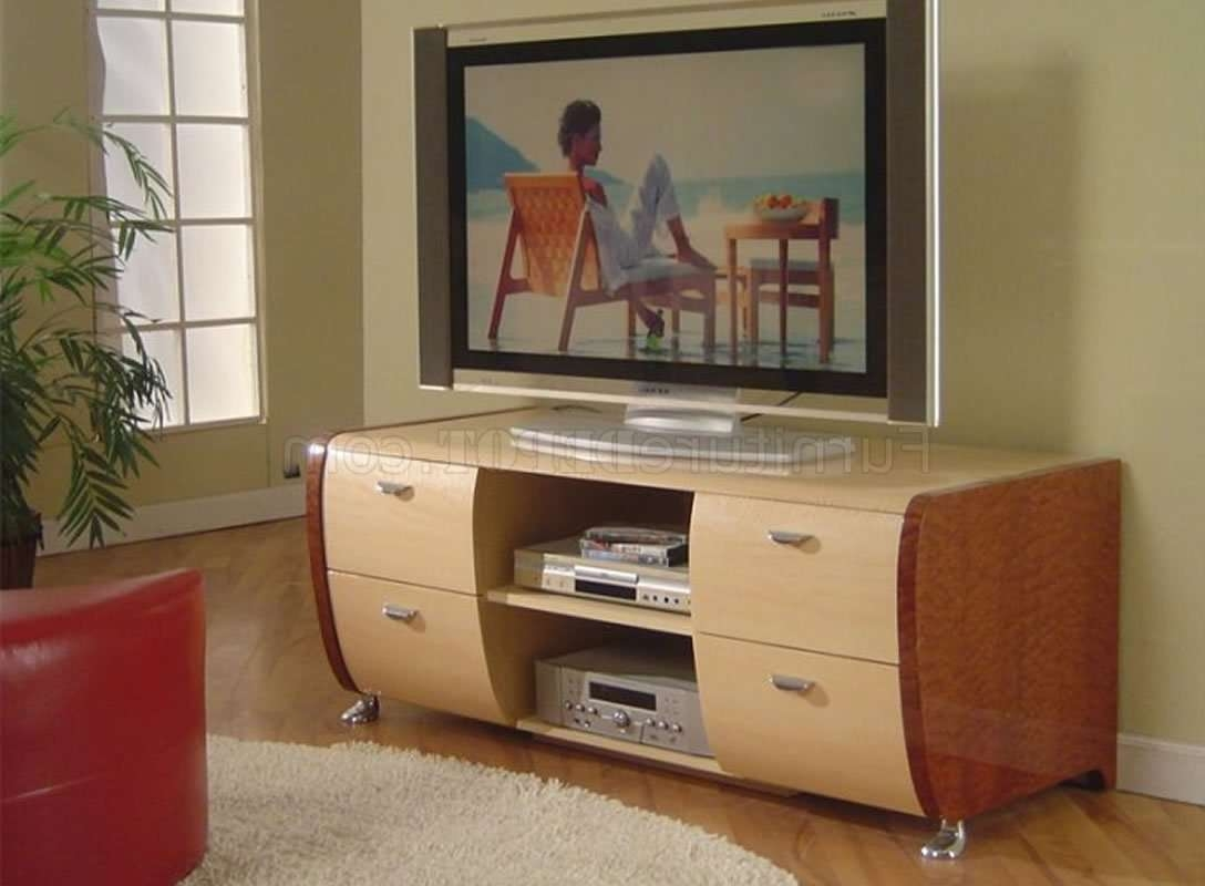 Cherry & Beech Two Tone High Gloss Finish Modern Tv Stand Throughout Beech Tv Stands (View 2 of 15)